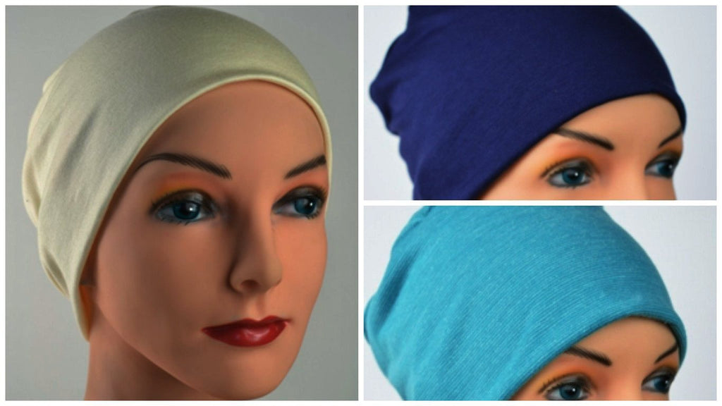 Budget Collection - 3 hats ... Navy, Cream, Turquoise - Hello Courage | Chemo Hats - Cancer Caps - Cancer Scarves - Headcovers - Cancer Beanies - Headwear for Hair Loss - Gifts for  Cancer Patients with Hair Loss - Alopecia