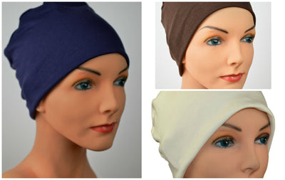 Cozy Collection - 3 hats ...Navy, Cream, Chocolate Brown - Hello Courage | Chemo Hats - Cancer Caps - Cancer Scarves - Headcovers - Cancer Beanies - Headwear for Hair Loss - Gifts for  Cancer Patients with Hair Loss - Alopecia