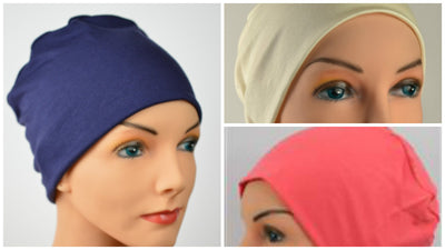 Cozy Collection - 3 hats ... Navy, Cream, Coral - Organic Bamboo - Small / Medium and Large - Hello Courage | Chemo Hats - Cancer Caps - Cancer Scarves - Headcovers - Cancer Beanies - Headwear for Hair Loss - Gifts for  Cancer Patients with Hair Loss - Alopecia