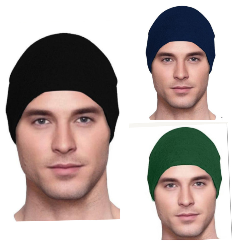 Men's Collection - 3 hats - Organic Bamboo -  Black, Navy Blue, Dark Green
