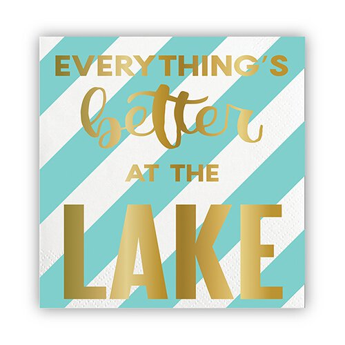 SLANT Collections Foil Beverage Napkins - Better At The Lake - Spinout