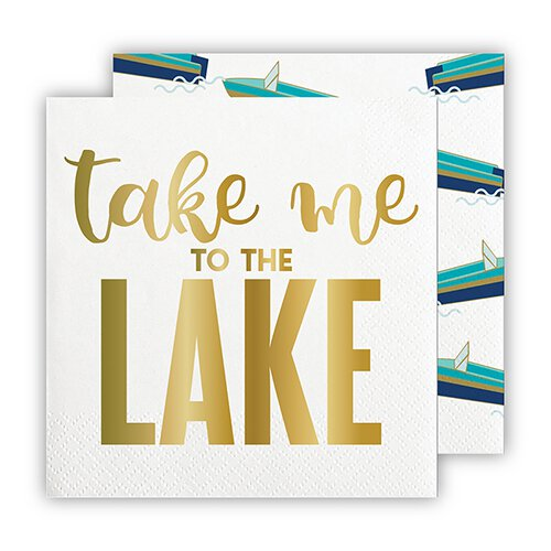 SLANT Collections Foil Beverage Napkins - Take Me To The Lake - Spinout