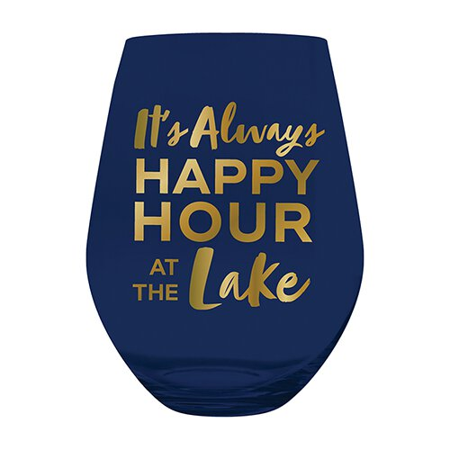 SLANT Collections Jumbo Stemless Wine Glass - Always Happy Hour At The Lake - Spinout