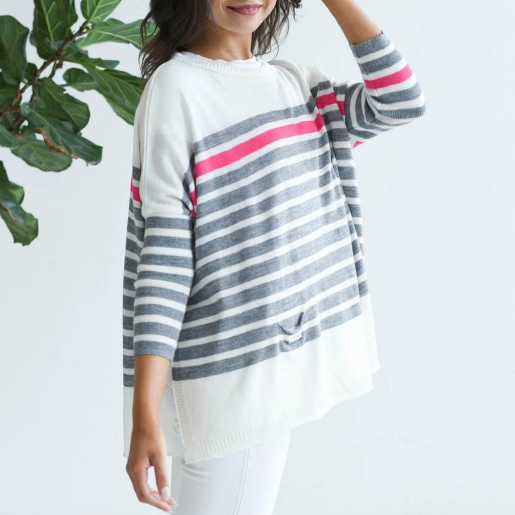 Mer-Sea & Co. The Catalina Travel Sweater - Striped Grey/Pink - Spinout