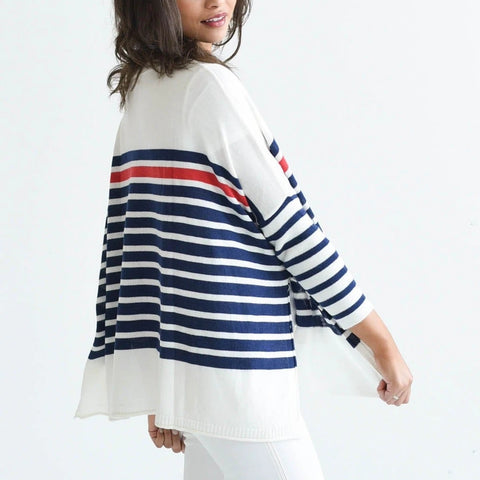 Mer-Sea & Co. The Catalina Travel Sweater - Striped Navy/Red - Spinout