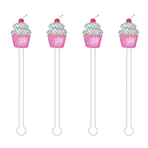 CUTE CUPCAKE ACRYLIC STIR STICKS