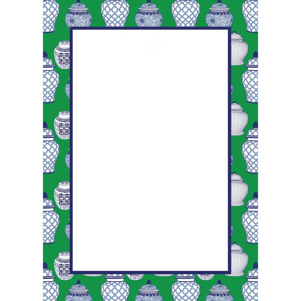 WH HOSTESS GINGER JAR PATTERN NOTEPAD | GREEN