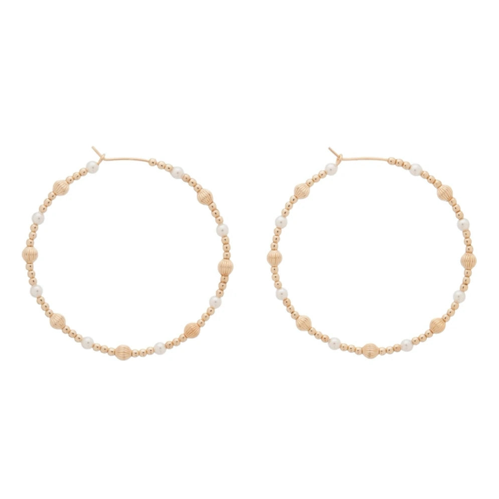 "eNewton - Beaded 1.75"" Hoop Earrings - Dignity Gold Sincerity Pattern - Pearl"