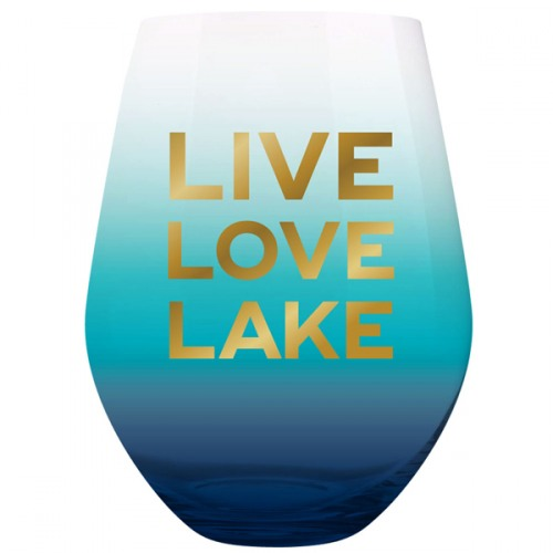 SLANT Collections Jumbo Stemless Wine Glass - Live, Love, Lake