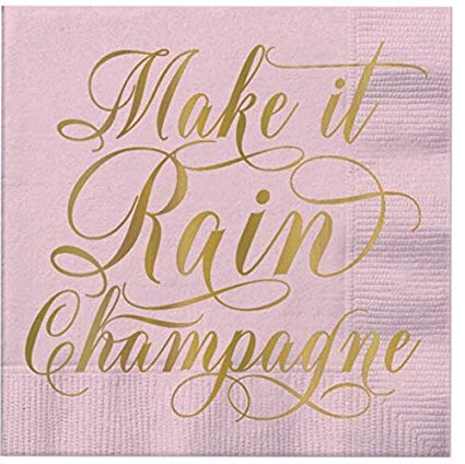 SLANT Collections Beverage Napkins - Make it Rain Champagne! - Spinout
