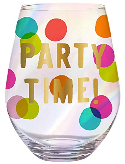 SLANT Collections Jumbo Stemless Wine Glass - Party Time!
