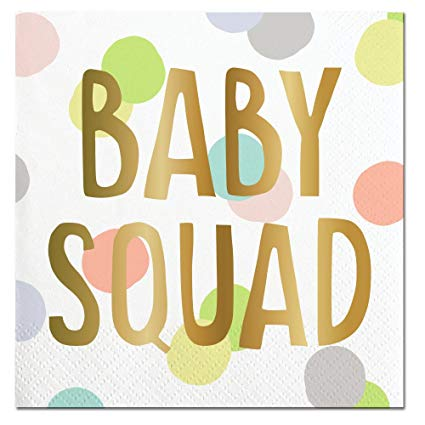 SLANT Collections Beverage Napkins - BABY SQUAD