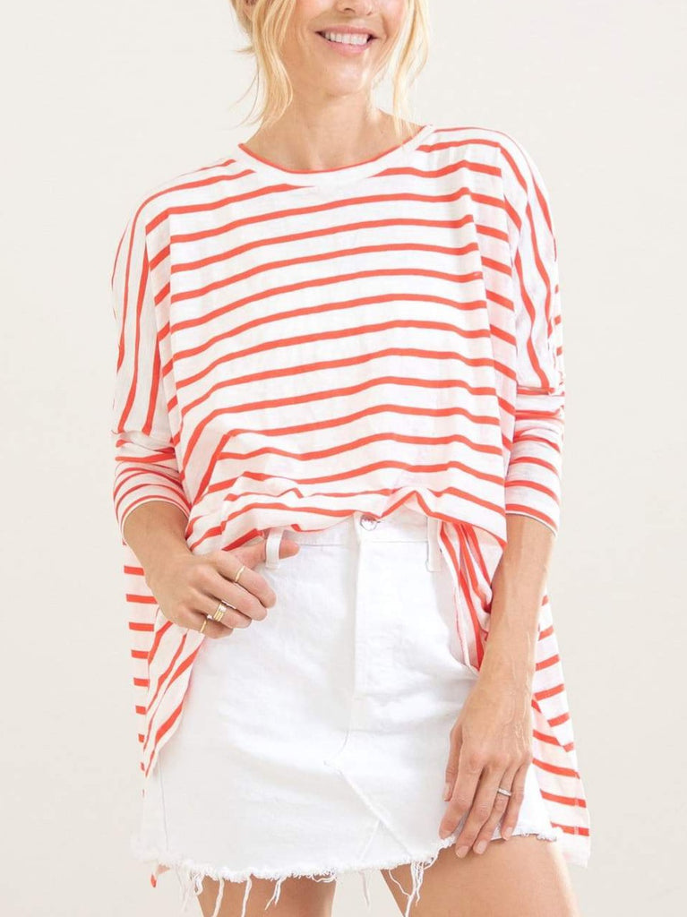 Mer-Sea & Co. Catalina Slub Tee - Coral Stripes