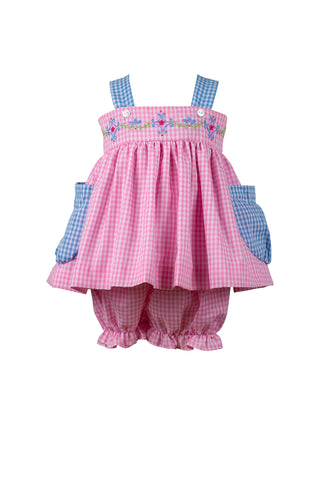 The Proper Peony Celeste Gingham Bloomer Set