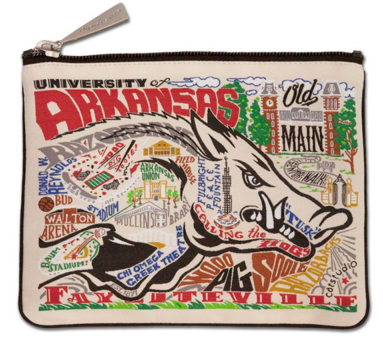 Collegiate Embroidered Pouch - University of Arkansas - Spinout