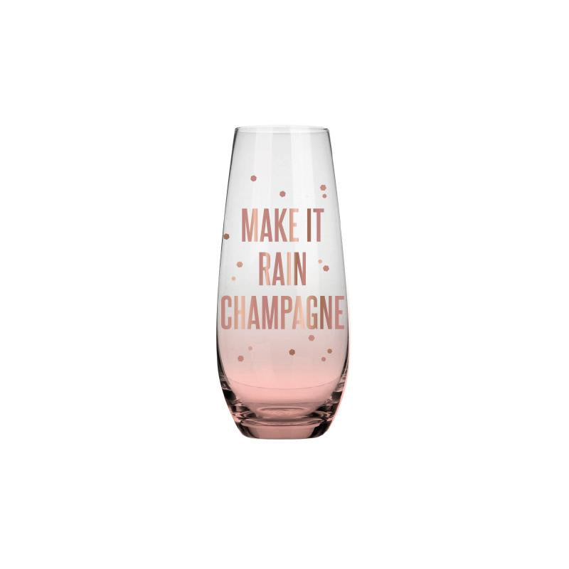 SLANT Collections Stemless Champagne Flute - Make it Rain