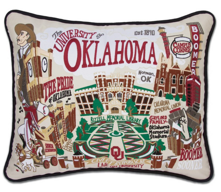 Collegiate Embroidered Pillow - Oklahoma University - Spinout