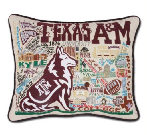 COLLEGIATE EMBROIDERED PILLOW - TEXAS A&M - Spinout