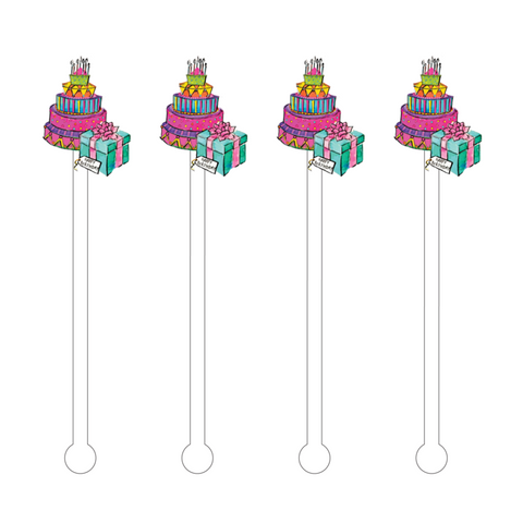 HAPPY BIRTHDAY CAKE ACRYLIC STIR STICKS