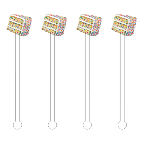 CONFETTI CAKE SLICE ACRYLIC STIR STICKS