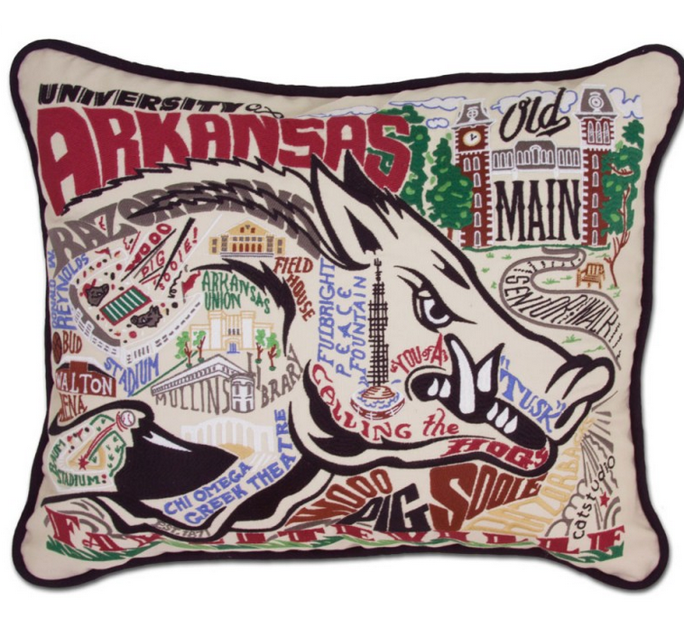 Collegiate Embroidered Pillow -University of  Arkansas - Spinout
