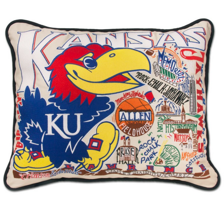 Collegiate Embroidered Pillow -Kansas University - Spinout