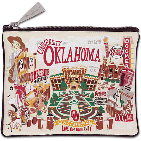 Collegiate Embroidered Pouch - Oklahoma University - Spinout
