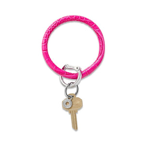 O-Venture - Leather Big O Key Ring - Pink Topaz Croc