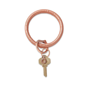 O-Venture - Leather Big O Key Ring - Solid Rose Gold Croc