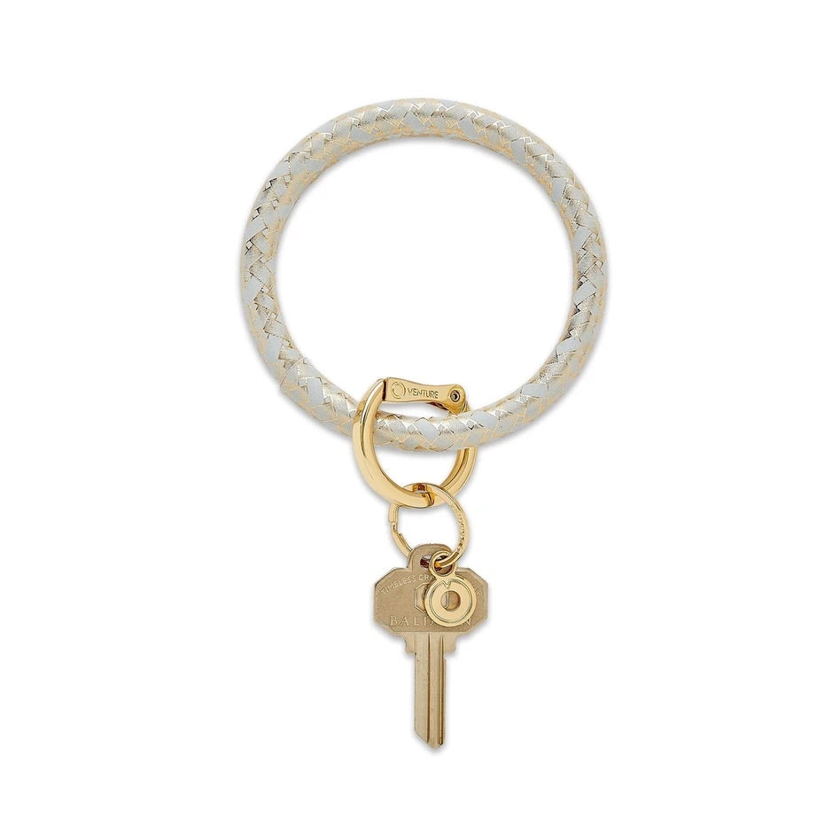 O-Venture - Leather Big O Key Ring - Gold Rush Basketweave