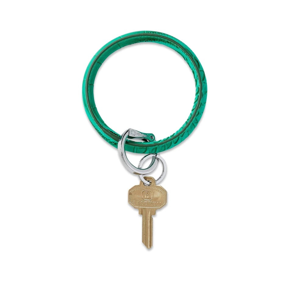 O-Venture - Leather Big O Key Ring - Emerald Croc