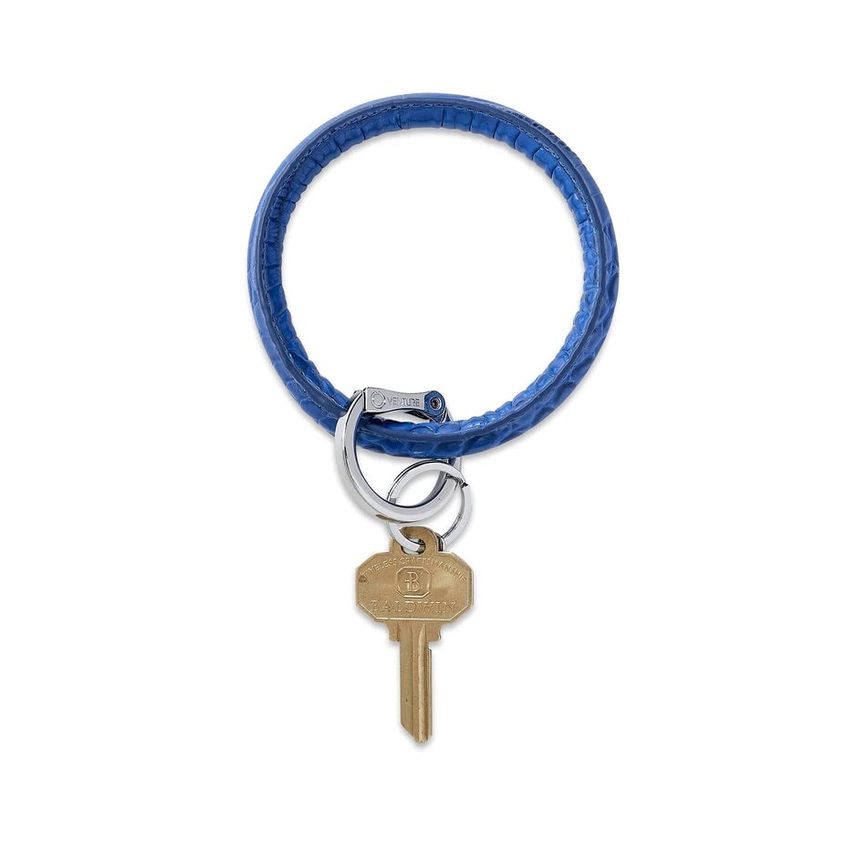 O-Venture - Leather Big O Key Ring - Sapphire Croc