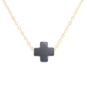 "eNewton - 14"" Necklace Gold - Signature Cross - Navy - Spinout"