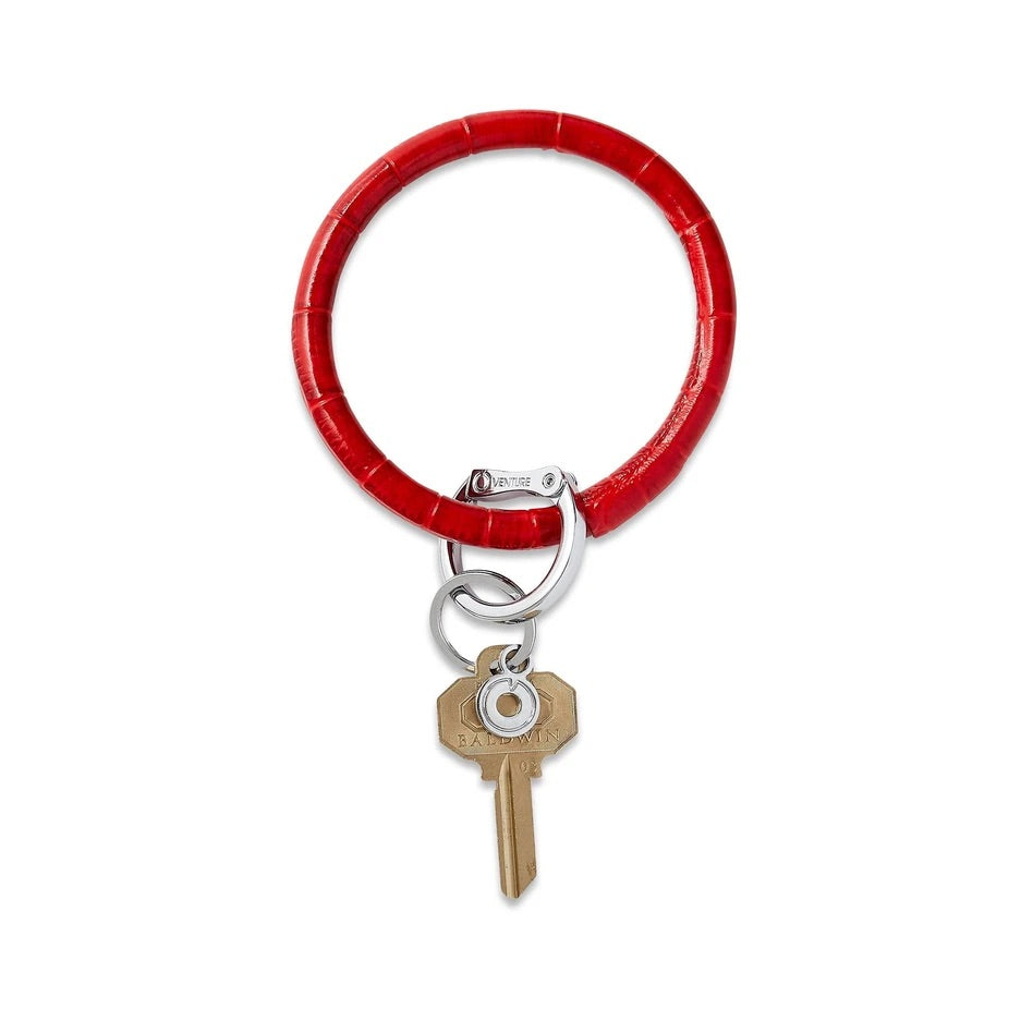O-Venture - Leather Big O Key Ring - Cherry on Top Croc