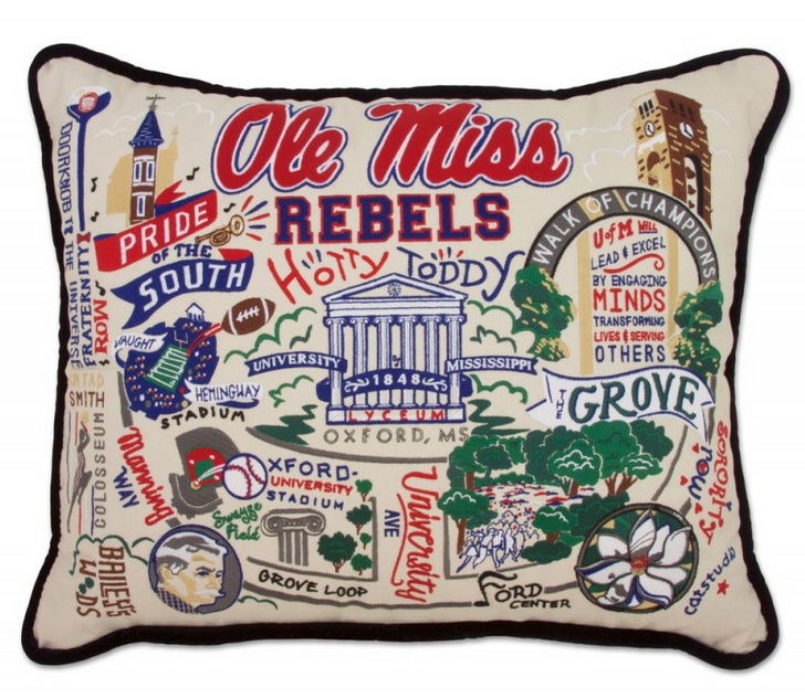 Collegiate Embroidered Pillow - Ole Miss