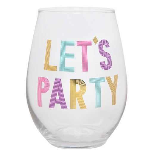 SLANT Collections Stemless Wine Glass - Let's Party