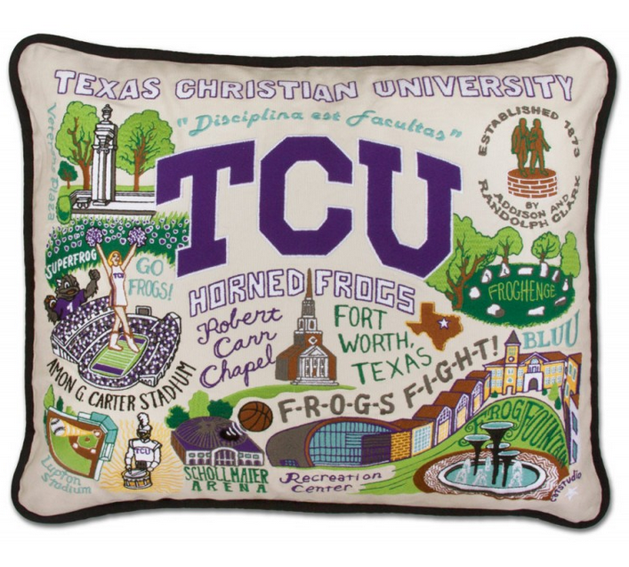 Collegiate Embroidered Pillow - Texas Christian University - Spinout