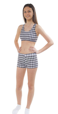 Youth Houndstooth Print Bootie Short