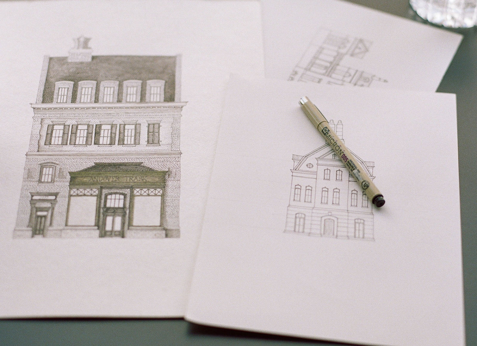 Drawing of historic architecture by Matt Weaver of Andover Trask