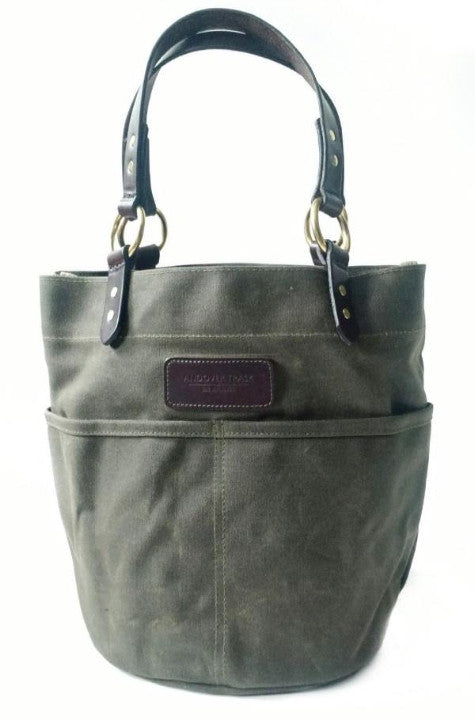 Belle - Waxed Canvas Feed Bucket Tote - Olive