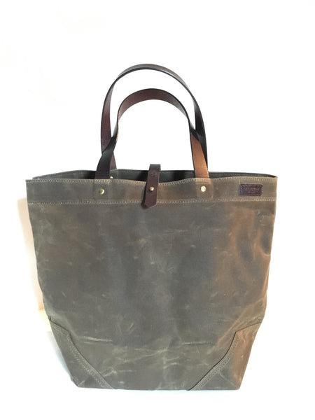 Scout - Waxed Cotton Tote - Field tan with Havana Straps