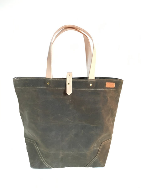 Scout - Waxed Cotton Tote - Field tan with Natural Straps