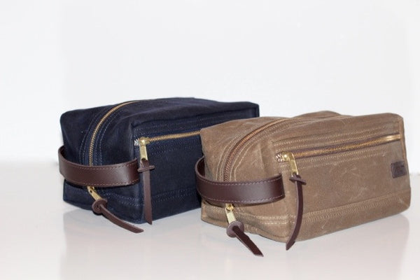 Waxed Cotton Dopp Kit - Navy