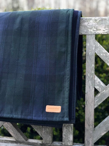 blanket waxed canvas and wool black watch plaid andover trask