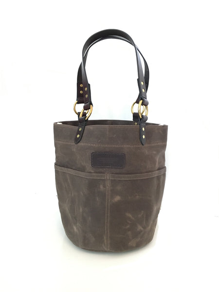 Belle - Waxed Canvas Feed Bucket Tote - Dark Oak