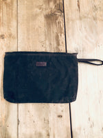 Clutch - Waxed cotton and wool - Chocolate