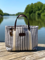 Hatteras - ECO Friendly Woven Cotton Tote - Gray Stripe