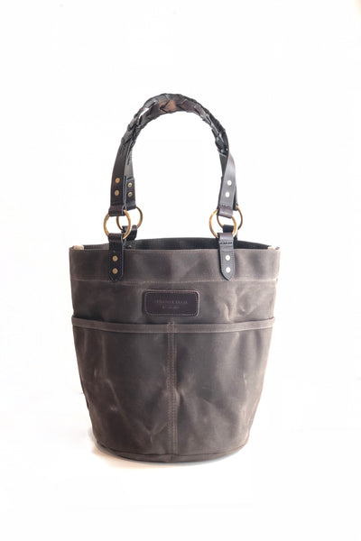Belle - Waxed Canvas Feed Bucket Tote with laced straps - Dark Oak