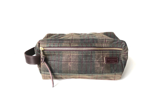 Waxed Cotton Dopp Kit - Autumn Plaid