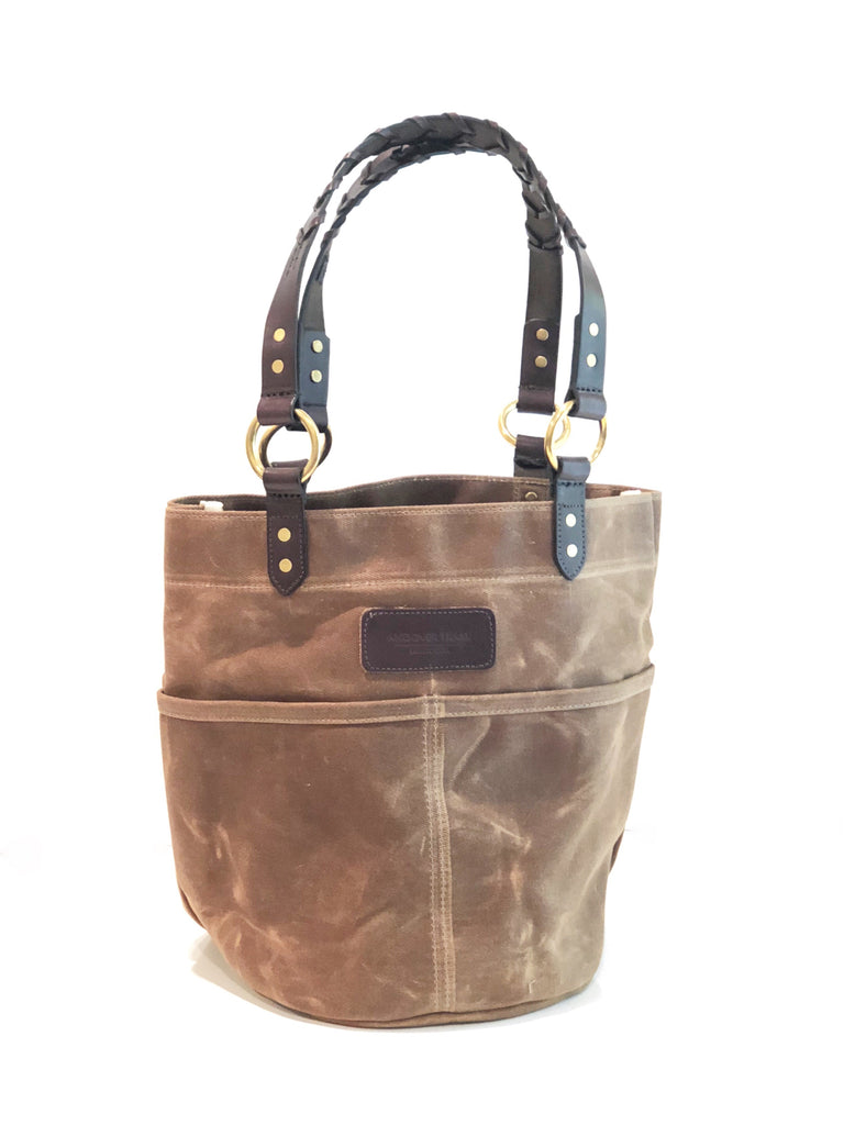 Belle - Waxed Filter Twill Feed Bucket Tote with laced straps - Tobacco